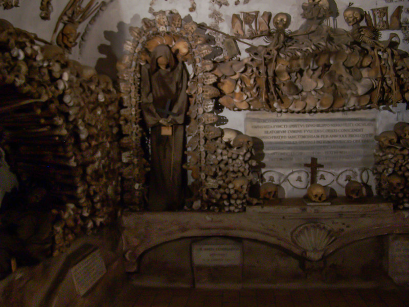 """The Capuchin Monks kept the bones of 4000 deceased colleagues and used them to """"decorate"""" their crypt??? They don't allow photos in the crypt, I did not take any. I did an internet search to find this picture because it was so """"darn"""" interesting. It was the best spent 1 Euro of the trip."""