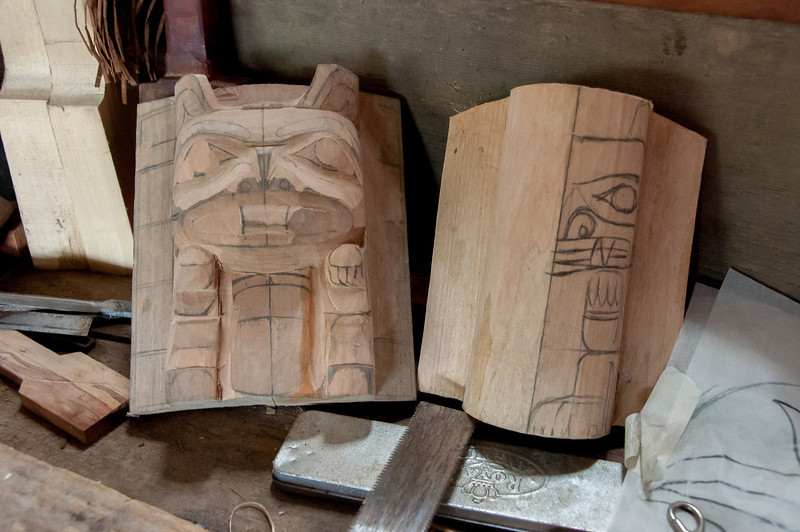 Totem pole being carved at Haida Heritage Center, British Columbia