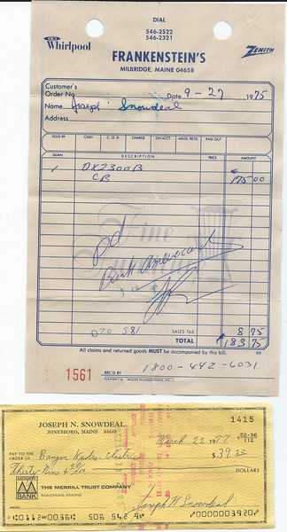 """Purchase of a CB for the old """"BlueJay"""" (his handle) 1975 and a Bangor Hydro Payment. 1977"""