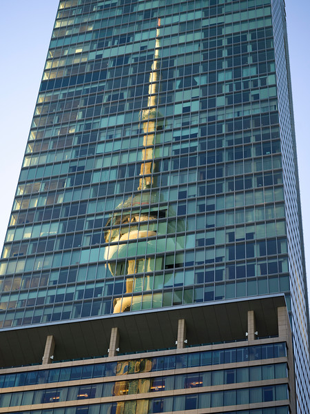 Reflection of CN Tower on skyscraper, Toronto, Ontario, Canada