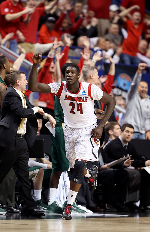 . LEXINGTON, KY - MARCH 23: Montrezl Harrell #24 of the Louisville Cardinals reacts after a play against the Colorado State Rams in the first half during the third round of the 2013 NCAA Men\'s Basketball Tournament at Rupp Arena on March 23, 2013 in Lexington, Kentucky.  (Photo by Andy Lyons/Getty Images)