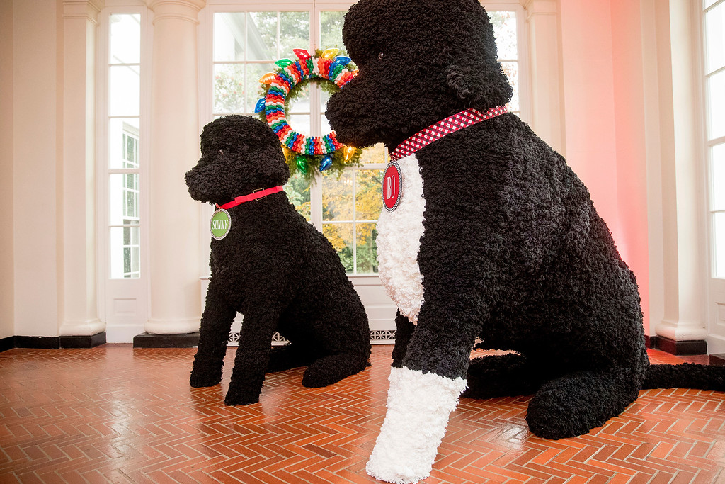 . Larger than life replicas of Bo and Sunny, made of more than 25,000 yarn pom-poms, are displayed in the East Wing Hallway of the White House during a preview of the 2016 holiday decor at the White House, Tuesday, Nov. 29, 2016, in Washington. (AP Photo/Andrew Harnik)