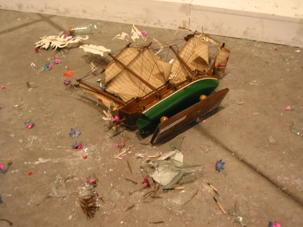 Pieces of the broken installation