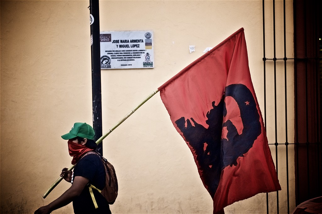 A communist activist in Oaxaca, Mexico, protests the recent election of President Enrique Peña Nieto.