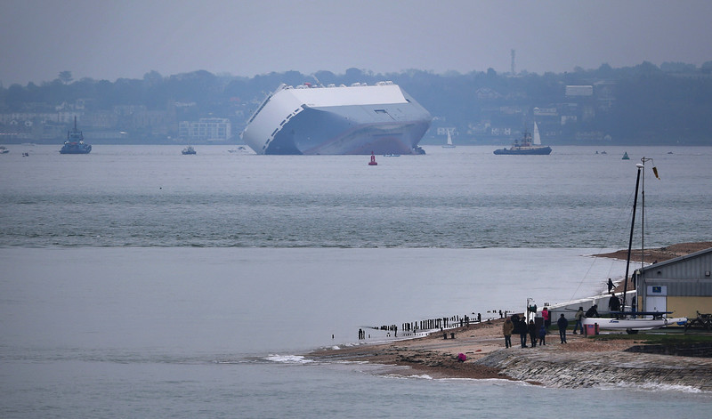 . Stricken vessel \'The Hoegh Osaka\' lists after it ran aground on a sand bank in the Solent on January 4, 2015 in Cowes, England. The cargo ship ran aground on Bramble Bank after leaving Southampton bound for Germany. All 25 crew members were rescued overnight.  (Photo by Peter Macdiarmid/Getty Images)