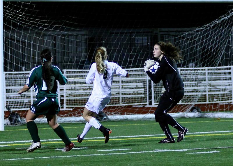 Molly Stinson, Megan McCallum  Woodinville High Girls Varsity Soccer verse Skyline High October 20, 2011, ©Neir