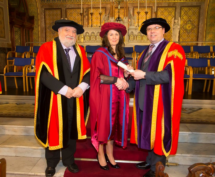 06/01/2015. FREE TO USE IMAGE. WIT (Waterford Institute of Technology) Conferring. Pictured is Angela Horgan-Goff, Waterford who was conferred a Doctor of Philosophy, also pictured are Jack Walsh, Deputy Chairman of W.I.T and Dr. Ruaidhrí Neavyn, President WIT.  Picture: Patrick Browne