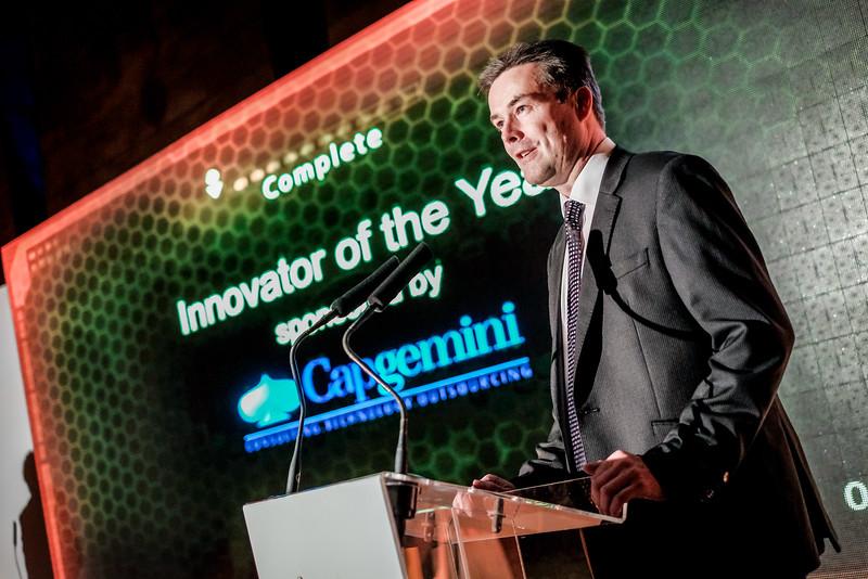 Craig Wappett of CapGemini presents the award for Innovator of the Year to ZeroLight.