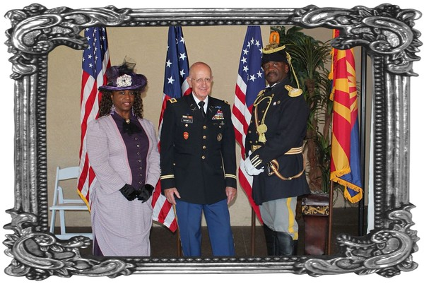 """June 14, 2015  240th Army Birthday and Flag Day Luncheon.  L/R: Deputy Commander Michelle London-Marable (dressed as a Lady of the Regiment); Colonel Gene Rafaneli and Commander Fred Marable, Founders of the Official Arizona Centennial Legacy """"Buffalo Soldiers of the Arizona Territory - Ladies and Gentlemen of the Regiment"""", Headquarters Mesa, Arizona.  Publisher Marion Cortland """"Arizona Veterans Connection"""" newspaper."""