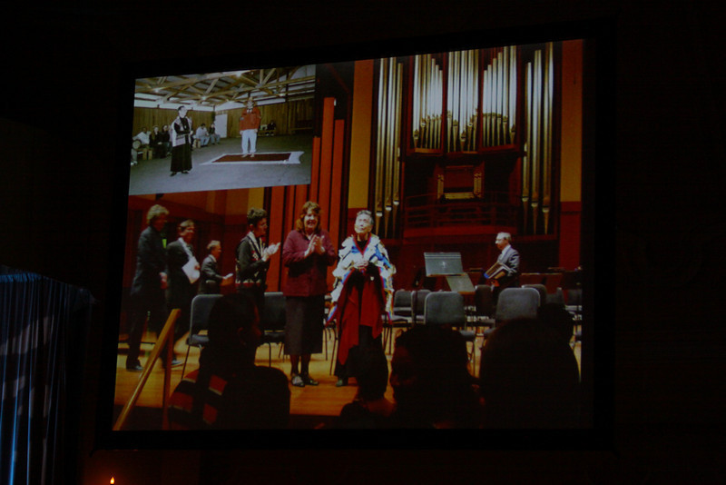 """""""Documenting Lushootseed, Through Its Last Living Speakers: A Foresight Foundation Project"""": A slide of the late Lushootseed Living Treasure Vi Hilbert, on the occasion of a symphony created and performed in her honor"""