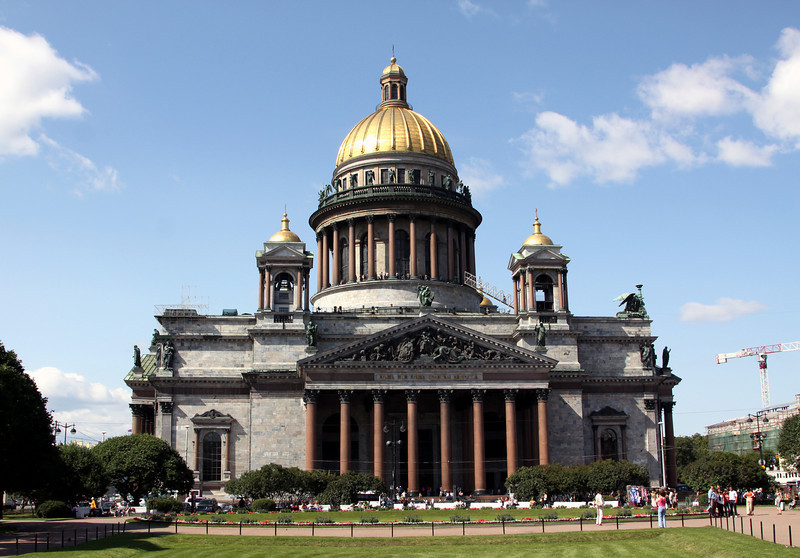 St Isaacs Cathederal, St Petersburg, built between 1818 and 1858. The cathedral was designed by the French architect Ricard de Montferrand.