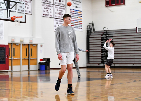 3/7/2020 Mike Orazzi | StaffrBristol Central High School's Donovan Clingan during practice on Saturday.