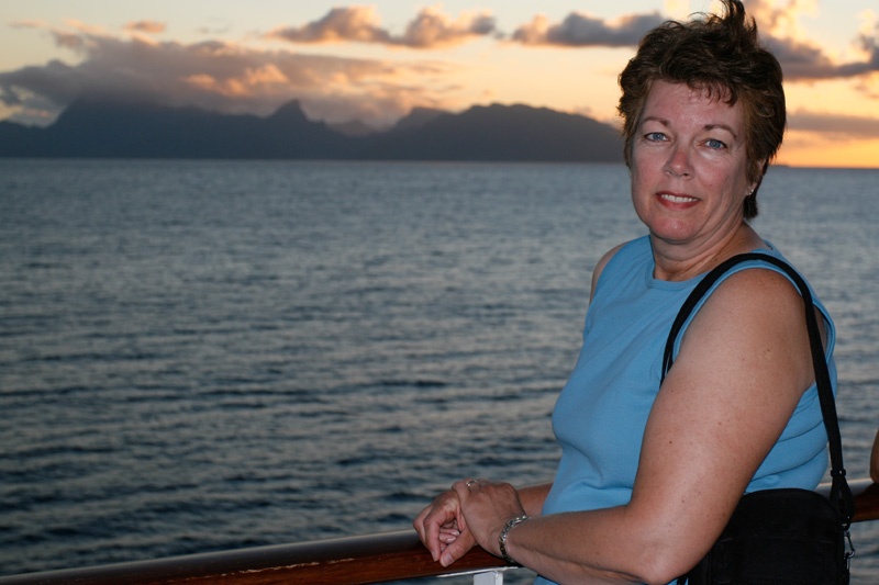 First sunset on board ship.  Moorea in the background.