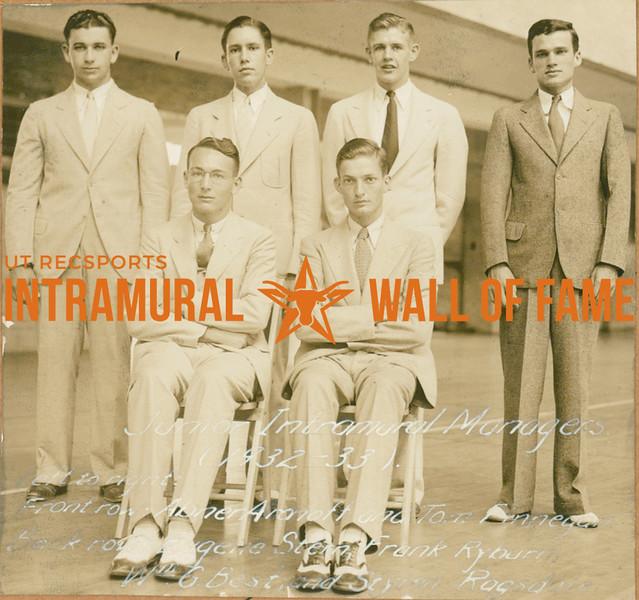 JUNIOR INTRAMURAL CHAMPIONS  FRONT: Abner Aronoff & Tom Finnegan BACK: Eugene Stern, Frank Ryburn, William G. Best, Styron Ragsdale