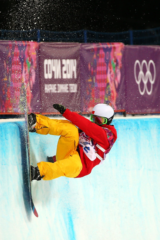 . Jiayu Liu of China  competes in the Snowboard Women\'s Halfpipe Finals on day five of the Sochi 2014 Winter Olympics at Rosa Khutor Extreme Park on February 12, 2014 in Sochi, Russia.  (Photo by Mike Ehrmann/Getty Images)