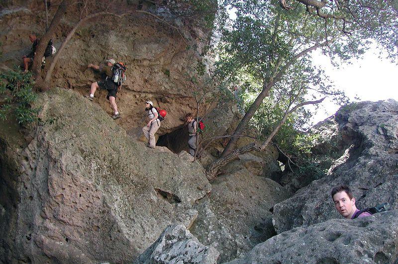 Hiking on in as Bob watches Stumbling Blocks, Malibu Creek