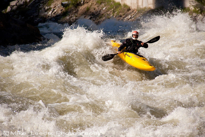 """Paddler Brian Ward coming down towards the big hit in """"Juicer"""" on the North Fork Payette River. 6,500-7,000cfs"""