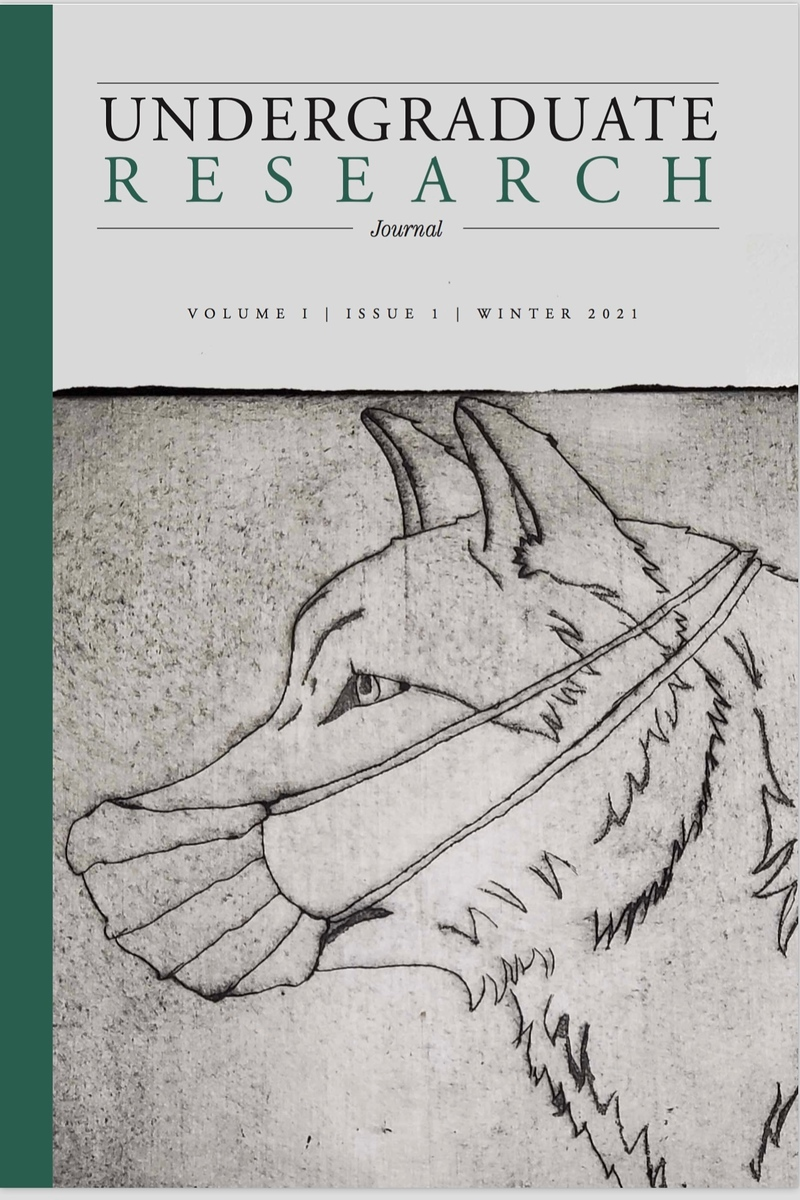 """Georgia College's inaugural """"Undergraduate Research"""" journal with cover art by senior Joshua Worthy."""