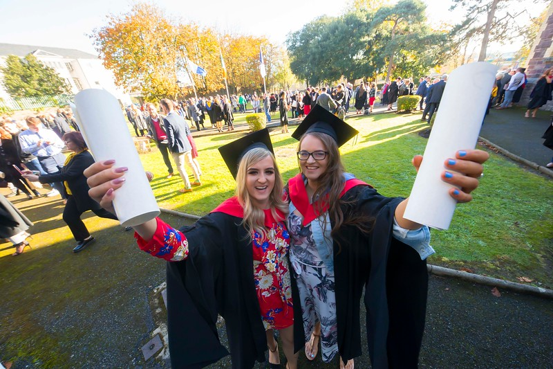 01/11/2018. Waterford Institute of Technology (WIT) Conferring Ceremonies 2018. Pictured are Samanta Tomane, Paulstown Kilkenny, Aoife Lanigan Thurles. Picture: Patrick Browne