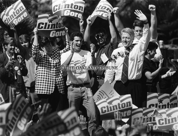 . San Jose, CA September 15, 1992 - William Clinton waves to San Jose State University students before his campaign speech. (Tory Read / Oakland Tribune Staff Archives)