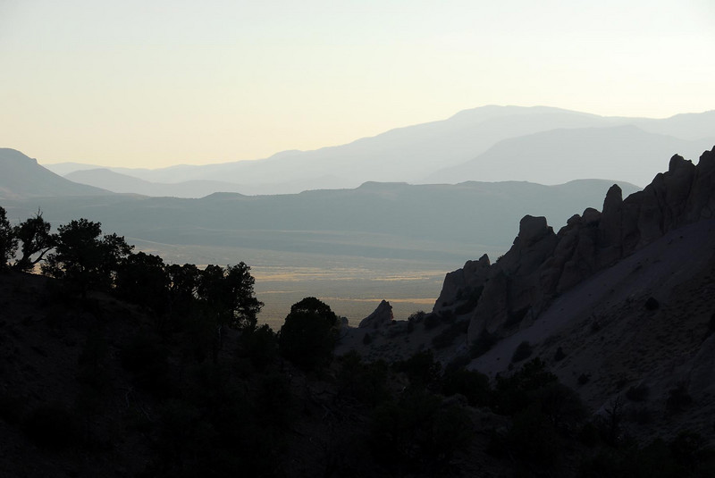9/8/07 – This was shot coming out of the Monroe Mountains east of Marysvale. We were late and the sun was setting creating some nice shadows as we looked out across the dessert floor and towards the next range of mountains in the distance. The telephoto lens compresses everything making the mountains in the distance look much closer than they really are.