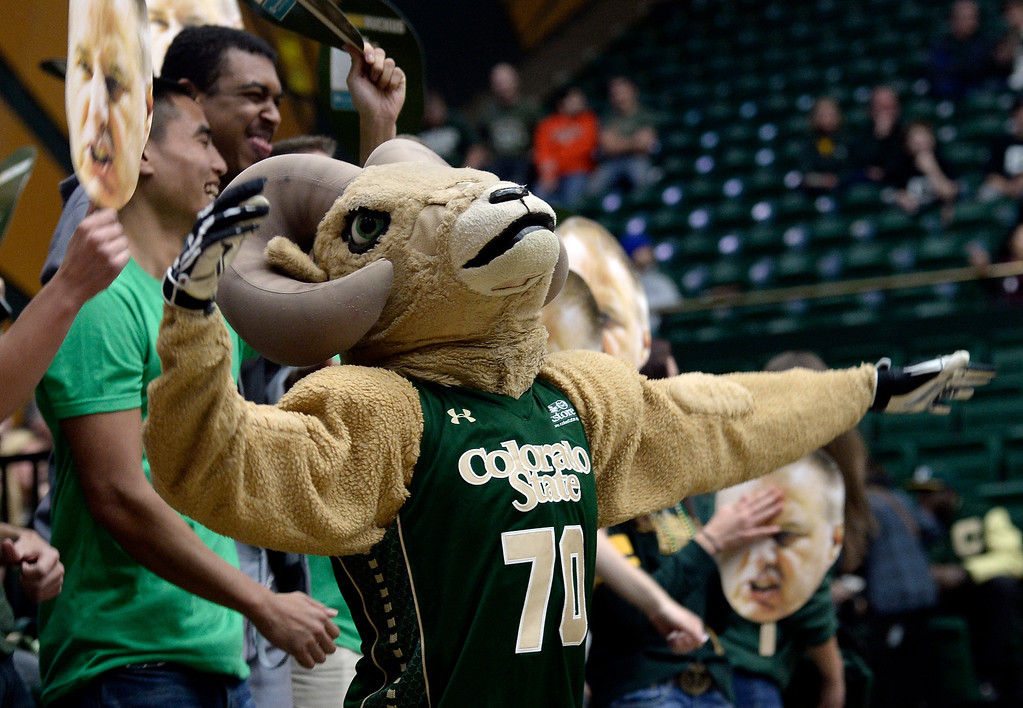 . CAM the CSU mascot gets the crowd going during an NCAA game against Colorado on Tuesday, Dec. 3, 2013, at the Moby Arena in Fort Collins. CU won the game 67-62. Jeremy Papasso/ Camera