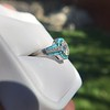2.23ct Art Deco Emerald Cut and Turquoise Halo Ring 7