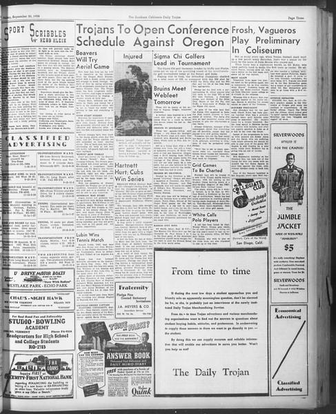 Daily Trojan, Vol. 30, No. 10, September 30, 1938