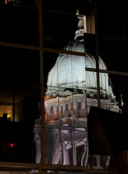 reflection of capitol dome at night