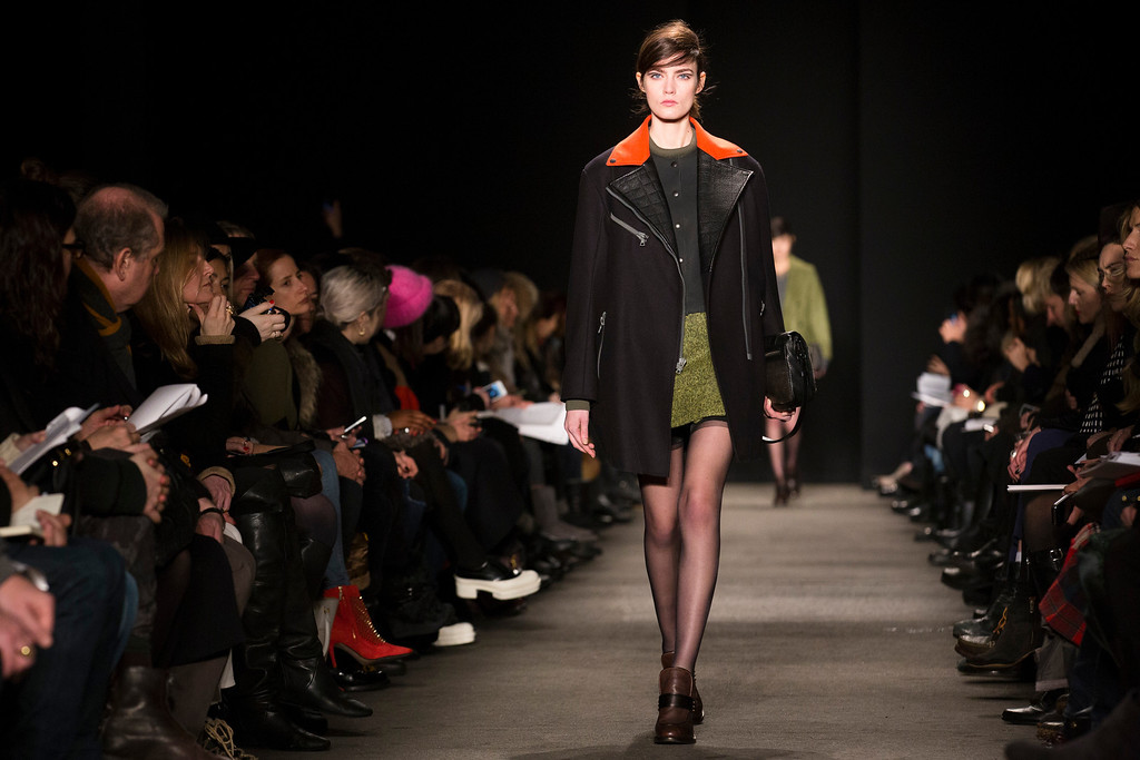 . A model walks the runway at the presentation of the Rag & Bone Fall 2013 fashion collection during Fashion Week, Friday, Feb. 8, 2013, in New York. (AP Photo/John Minchillo)