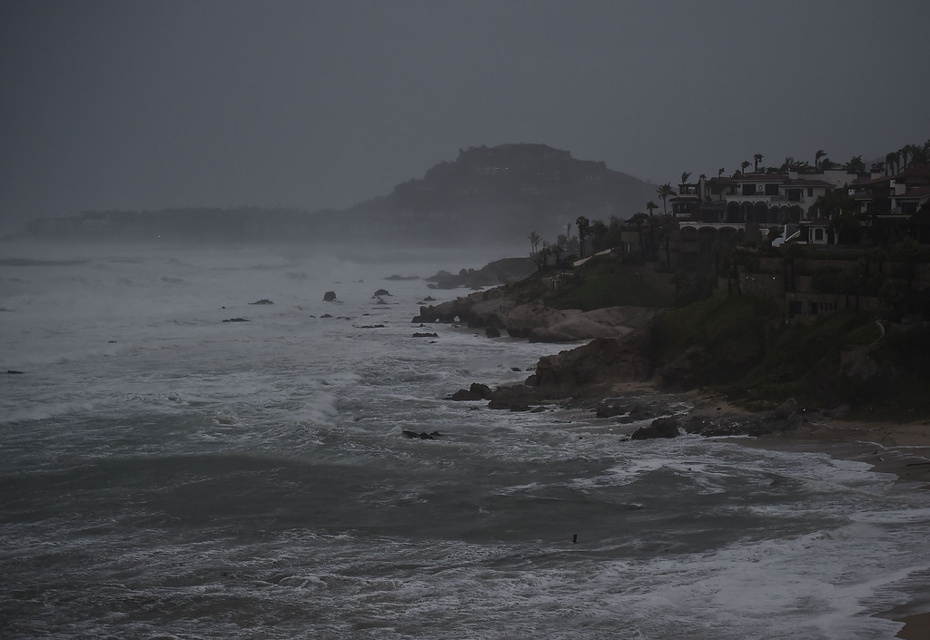 . View of waves in Cabo San Lucas, Baja California State, Mexico, on September 14, 2014. Hurricane Odile swirled menacingly toward Mexico\'s Los Cabos resorts on Sunday, forcing authorities to evacuate high-risk areas and open shelters as the powerful storm threatened to thrash the Pacific coast. AFP PHOTO/RONALDO  SCHEMIDT/AFP/Getty Images