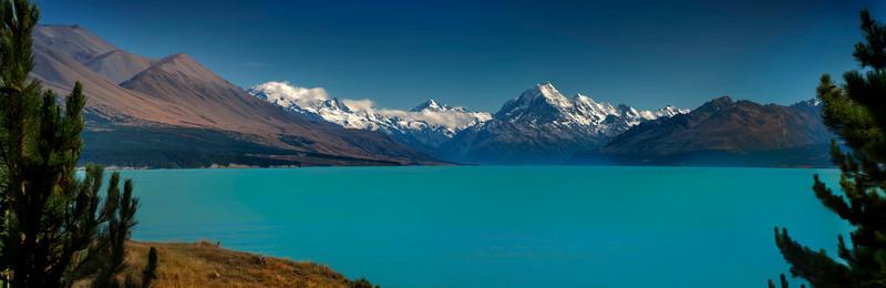 Panorama of Lake Pukaki looking towards Mount Cook.