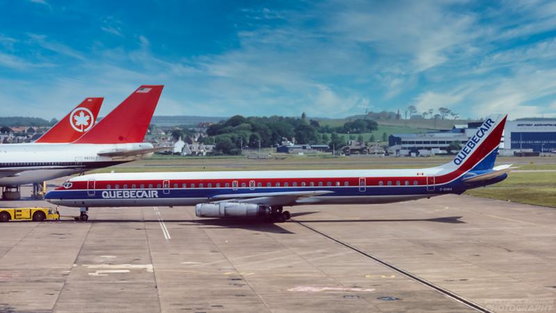 C-GQBA Douglas DC-8-63 Quebecair Prestwick June 1985.png