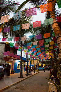 Flags over the walkway in Sayulita