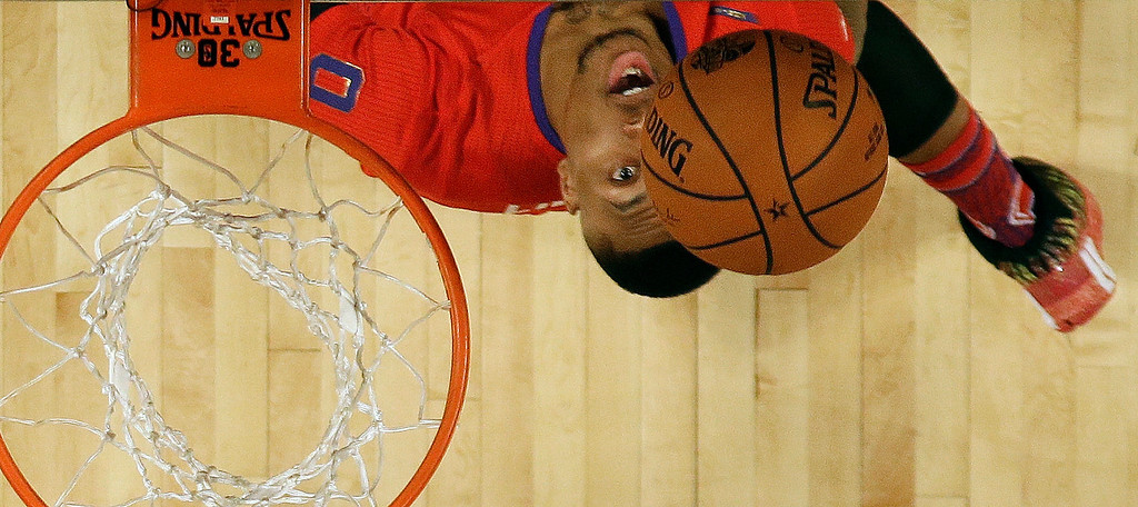 . West Team\'s Damian Lillard, of the Portland Trail Blazers (0) during the NBA All Star basketball game, Sunday, Feb. 16, 2014, in New Orleans. (AP Photo/Gerald Herbert)