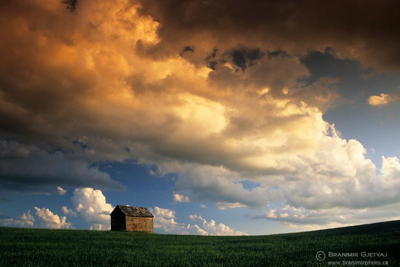 Barn and clouds at sunset, Saskatchewan