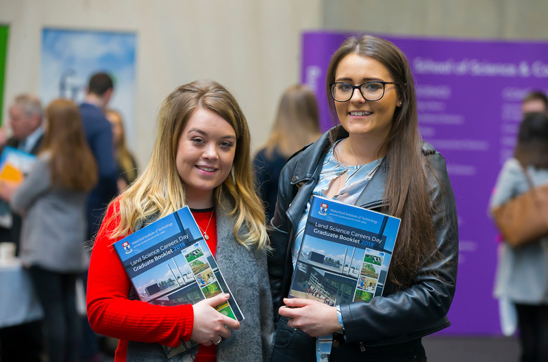 09/03/2018.  Land Sciences Careers Day. Waterford Institute of Technology and Teagasc marked 40 years of partnership at a Land Sciences Careers event for WIT students at the WIT Arena. The programmes the two collaborate on span right across the board from agrifood, to forestry, and horticulture.  Pictured are Aoife Rooney and Mary Beth Gibson land management students. Picture: Patrick Browne