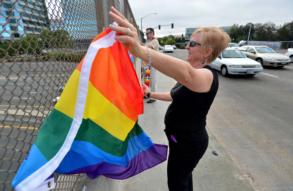 . Sherry Berman of Walnut Creek waves her rainbow flag and celebrates the US Supreme Court\'s decision on Proposition 8 as she stands on the Treat Boulevard overpass in Walnut Creek, Calif., on Wednesday, June 26, 2013. (Dan Rosenstrauch/Bay Area News Group)