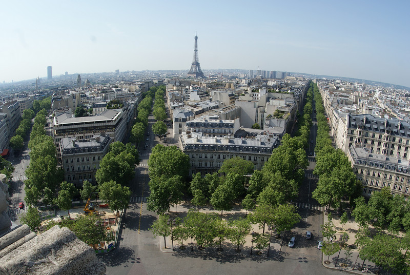 From the top of the Arc de Triomphe (Eiffel Tower in the distance)