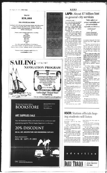 Daily Trojan, Vol. 150, No. 4, August 28, 2003
