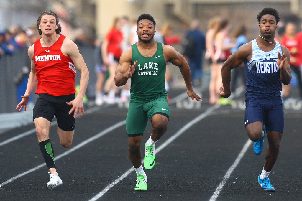. 2018 - Track and Field - Willoughby South Invitational. 100 Meter dash.  Winner was John Pap of Mentor in 11.48 just beating out DJ Griffus for Lake Catholic  & Kee-shaun Merrill for Kenston.