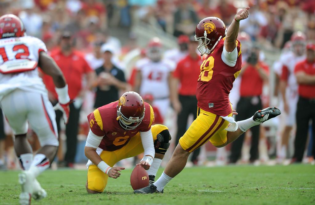 . USC\'s Andre Heidari kicks a second-quarter field goal against Utah, Saturday, October 26, 2013, at the L.A. Memorial Coliseum. (Michael Owen Baker/L.A. Daily News))
