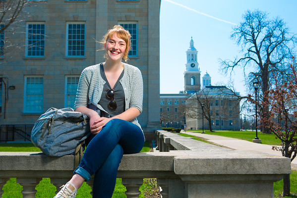 Portrait of Truman Scholar Madeline Britt in front of Crosby Hall