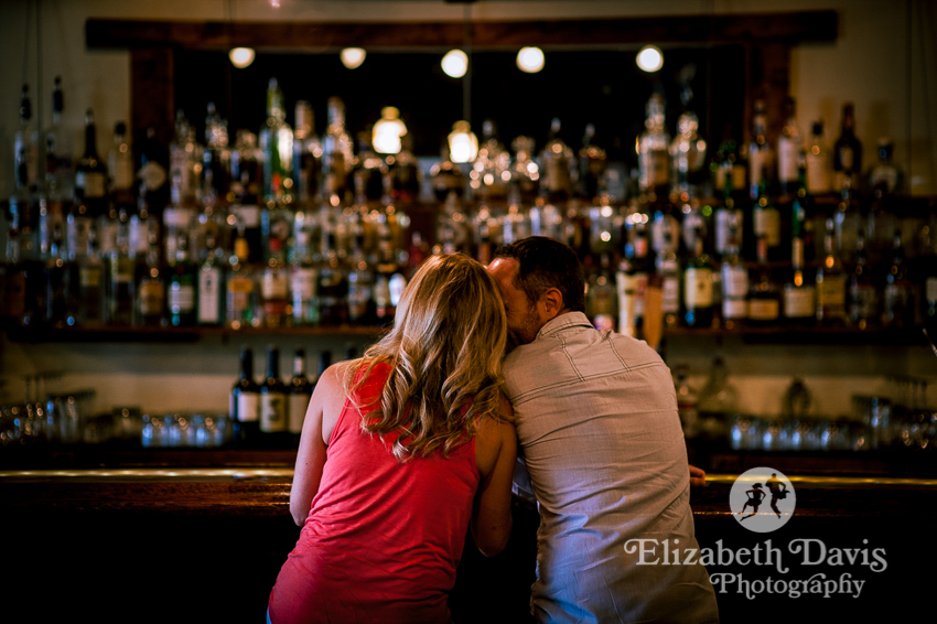 Engagement photos at a bar | dark, romantic engagement photos | Elizabeth Davis Photography