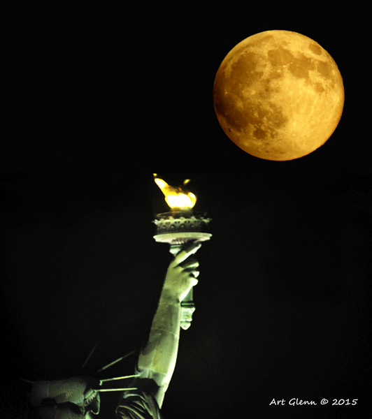 1600 MM shot of Super Moon and Statue of Liberty Torch - Art Glenn