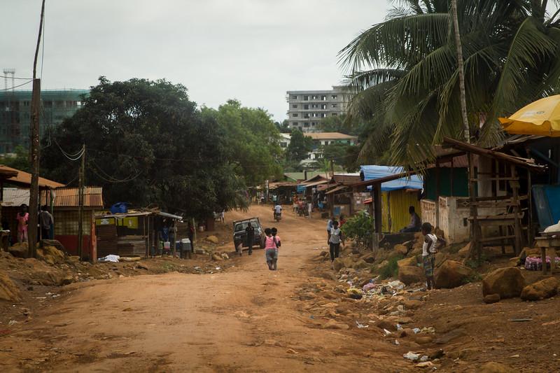 Monrovia, Liberia October 10, 2017 - A neighborhood road in Monrovia.