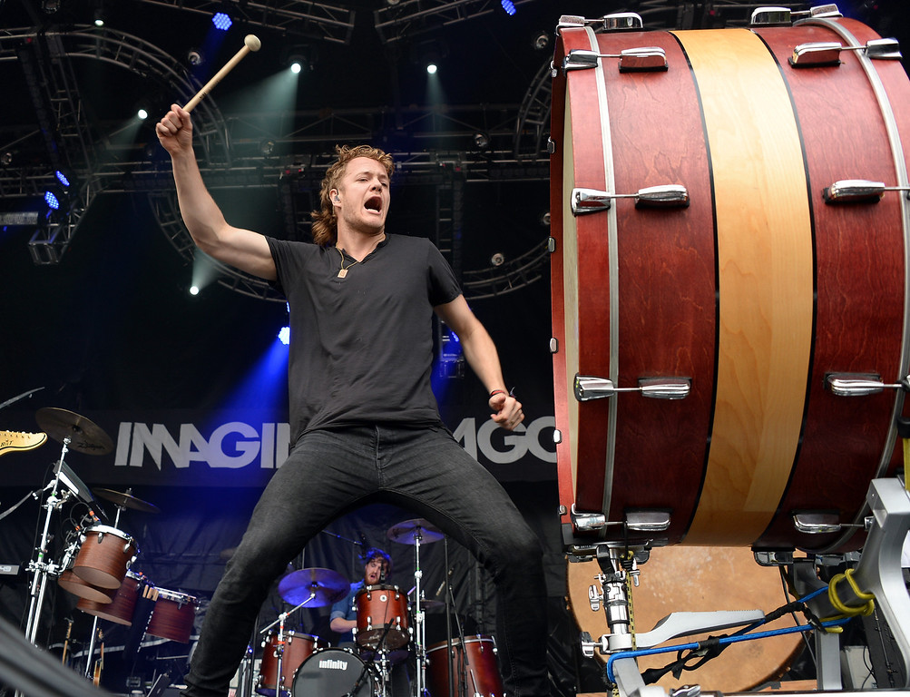 . CHICAGO, IL - AUGUST 02:  Dan Reynolds of Imagine Dragons performs during Lollapalooza 2013 at Grant Park on August 2, 2013 in Chicago, Illinois.  (Photo by Theo Wargo/Getty Images)