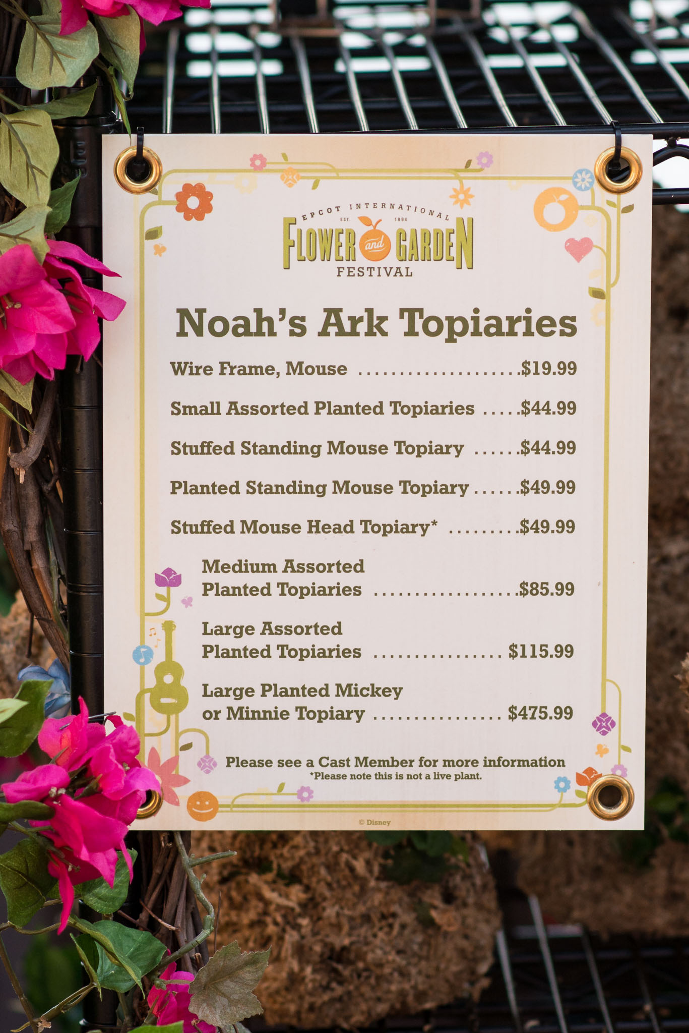 Topiary Price List - Epcot Flower & Garden Festival 2016
