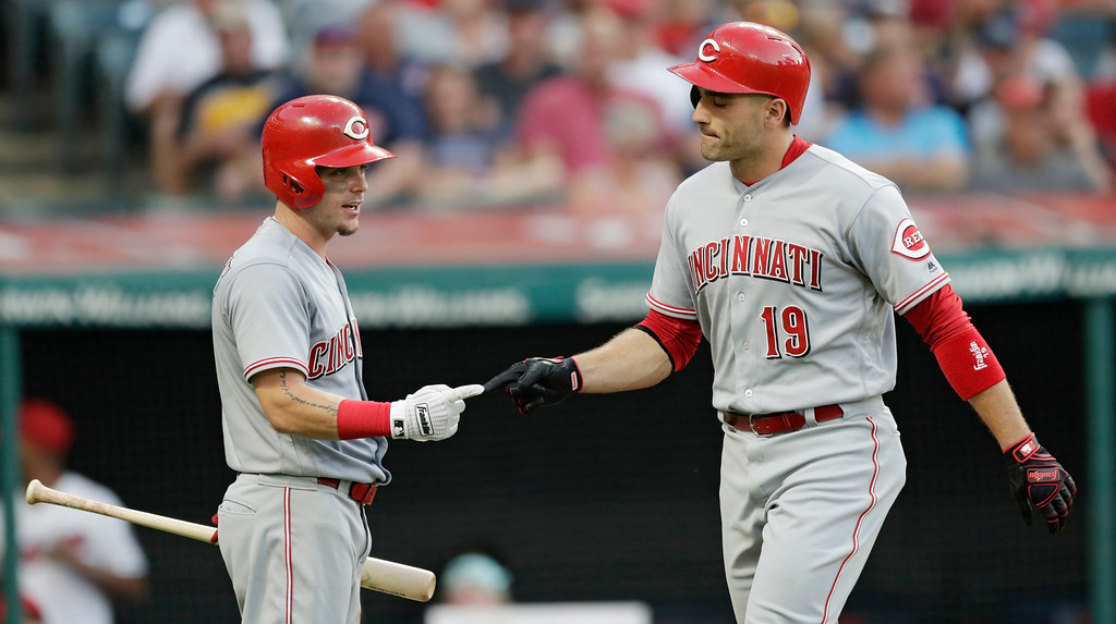 . Cincinnati Reds\' Joey Votto, right, is congratulated by Scooter Gennett after Votto hit a solo home run in the fifth inning of a baseball game against the Cleveland Indians, Monday, July 9, 2018, in Cleveland. (AP Photo/Tony Dejak)