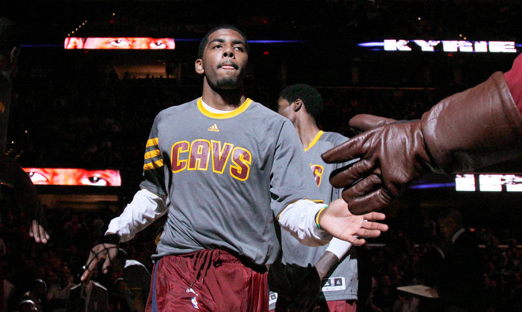 . Cleveland Cavaliers\' Kyrie Irving is introduced before facing the Atlanta Hawks in an NBA basketball game in Cleveland on Sunday, March 18, 2012. (AP Photo/Amy Sancetta)